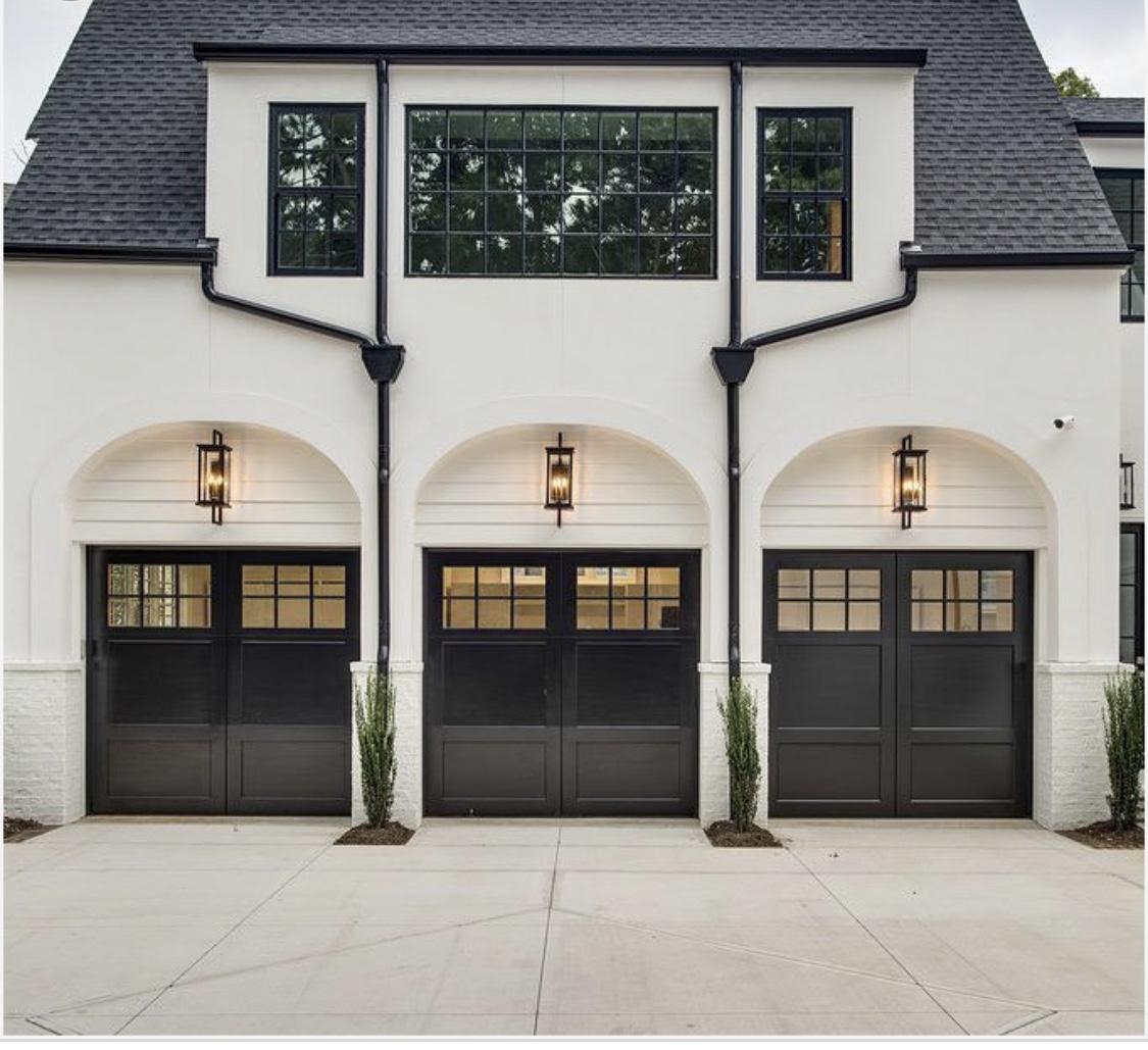 Black Garage Door Reveal Inspiration Inspo Side Entry Three Car